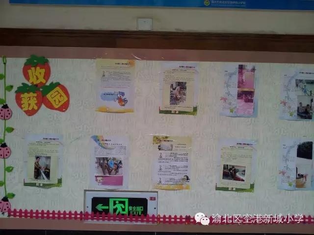 注:靠近教室前门的一块展板一年级制作心愿树,展示了每个孩子的